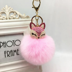 Fox Rhinestone Pom Pom Ball Keychain - Amazing Pet