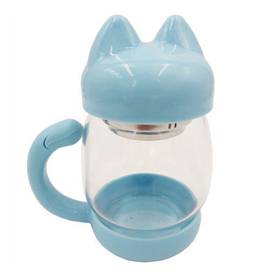 Cat Shaped Glass Mug With Filter