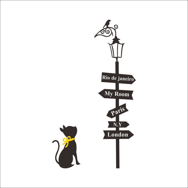 Cat under The Street Lamp Wall Sticker - Amazing Pet