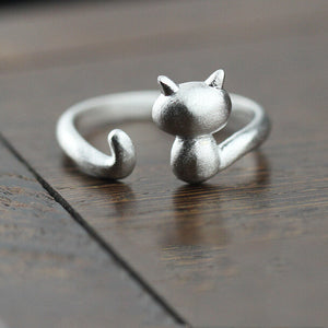 925 Sterling Silver Cute Cat Rings