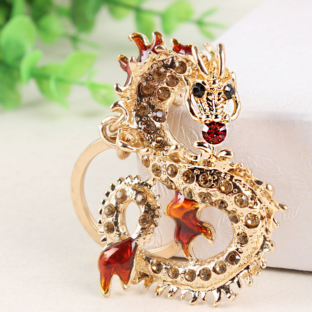 Chinese Dragon Rhinestone Keychain - Amazing Pet