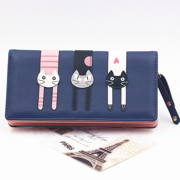 Long Wallet with Cartoon Cats