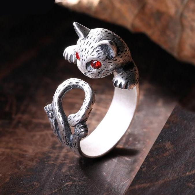 925 Sterling Silver Cool Cat Ring