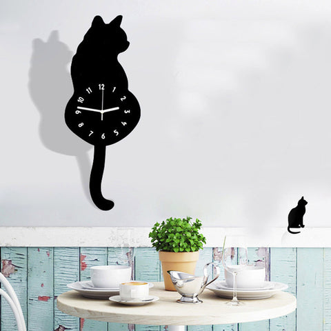 Acrylic Wall Clock - Tail Wagging Cat