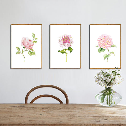 Modern Wall Painting of Chinese Rose, Hydrangea and Rare Flower