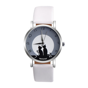 Faux Leather Watch - Pair of Cats