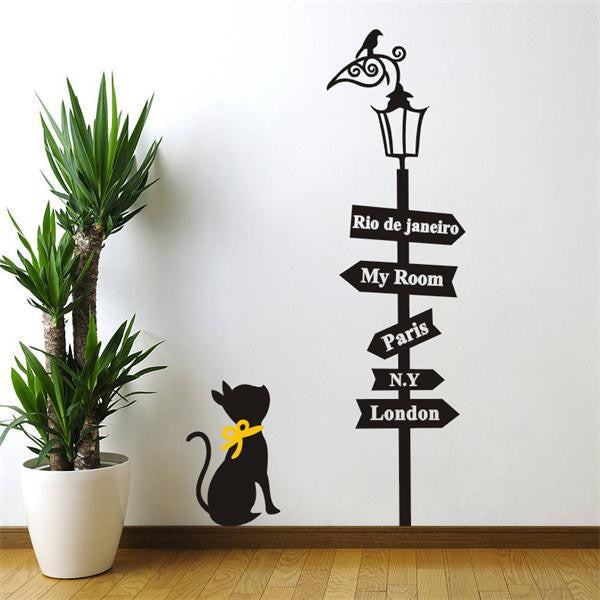 Cat under The Street Lamp Wall Sticker