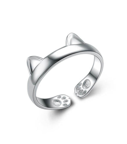925 Sterling Silver Cat Ear Ring