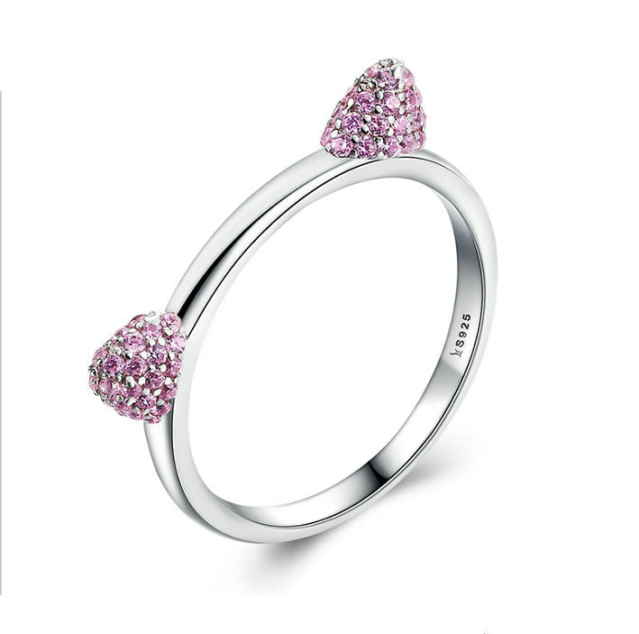 925 Sterling Silver Cute Cat Ear Ring