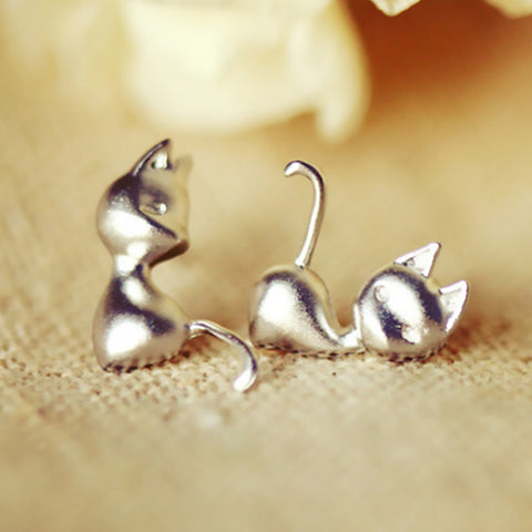 925 Sterling Silver Cat Earrings (1 Pair)