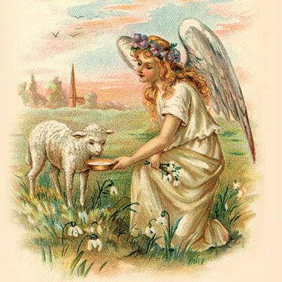Antique Angel Feeding a Lamb