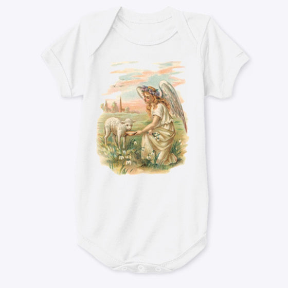 Classic Cotton Baby Bodysuit with Antique Angel Feeding a Lamb Art Print Pink