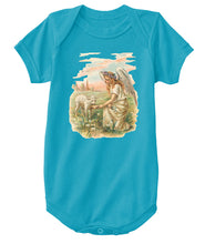 Classic Cotton Baby Bodysuit with Antique Angel Feeding a Lamb Art Print Turquoise