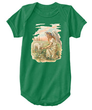 Classic Cotton Baby Bodysuit with Antique Angel Feeding a Lamb Art Print Kelly Green