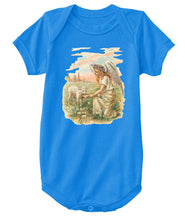 Classic Cotton Baby Bodysuit with Antique Angel Feeding a Lamb Art Print Royal Blue