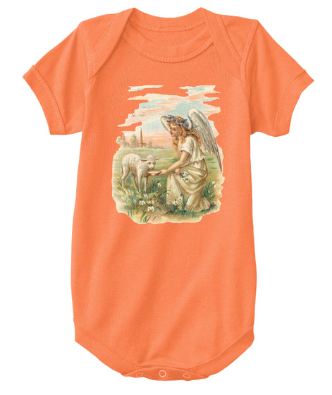 Classic Cotton Baby Bodysuit with Antique Angel Feeding a Lamb Art Print Orange