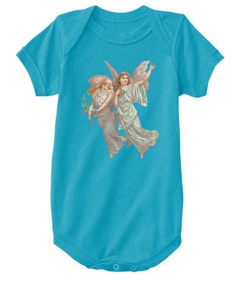 Classic Cotton Baby Bodysuit with Heavenly Angel Art Print
