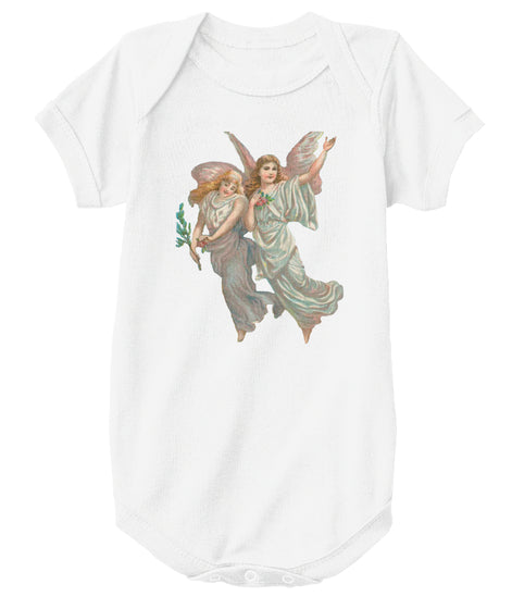 Classic Cotton Baby Bodysuit with Antique Heavenly Angels Art Print White