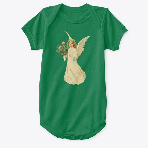 Classic Cotton Baby Bodysuit with Angel and Clover Art Green
