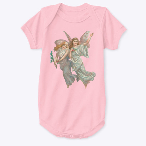 Classic Cotton Baby Bodysuit with Heavenly Angels Art Print White