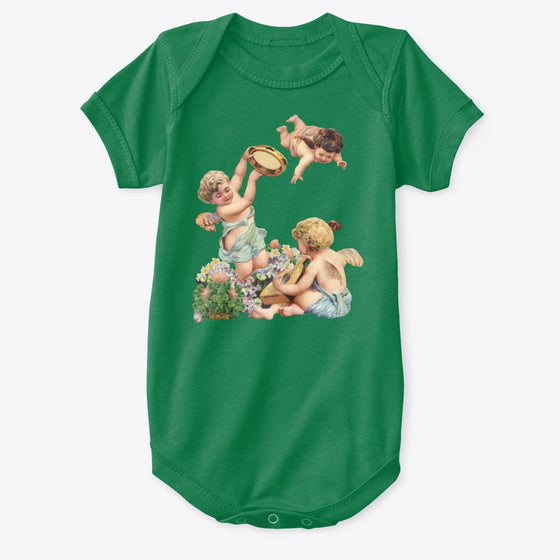 Classic Cotton Baby Bodysuit with Cherubs Playing Music Art Print Kelly Green