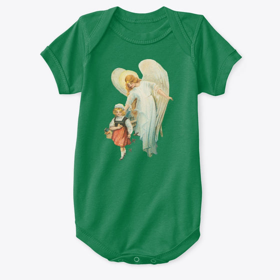 Classic Cotton Baby Bodysuit with Guardian Angel and Girl Art Print Kelly Green