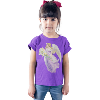 Kids Cotton Tee Classic T-Shirt with Angel in Purple with Lilies Art Print in Purple on Model
