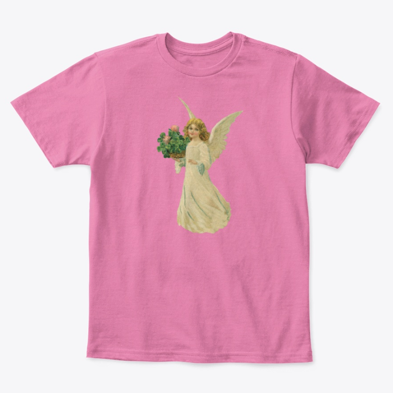 Kids Cotton Tee Classic T-Shirt with Angel and Four Leaf Clover Art True Pink Front