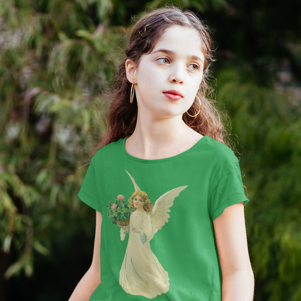 Kids Green Tee Shirt with Angel and Clover Print