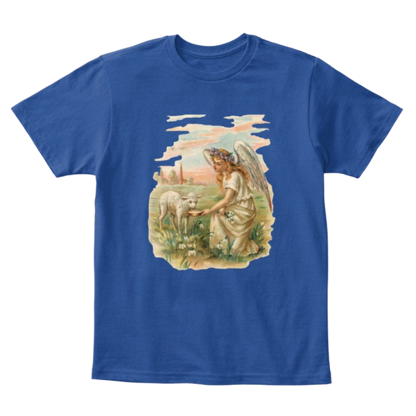Mythic Art Clothing Kids Cotton Tee Classic T-Shirt with Antique Angel Feeding a Lamb Deep Royal Front