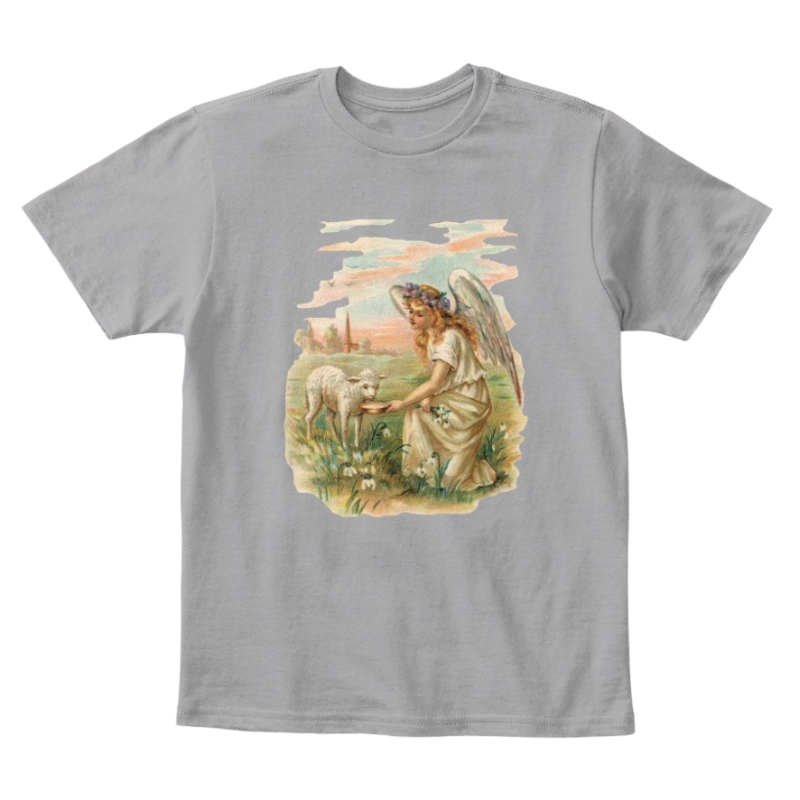 Mythic Art Clothing Kids Cotton Tee Classic T-Shirt with Antique Angel Feeding a Lamb Light Heather Grey Front