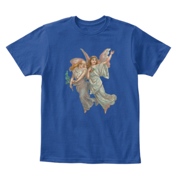 Mythic Art Clothing Kids Cotton Tee Classic T-Shirt with Heavenly Angel Art Print Deep Royal Front