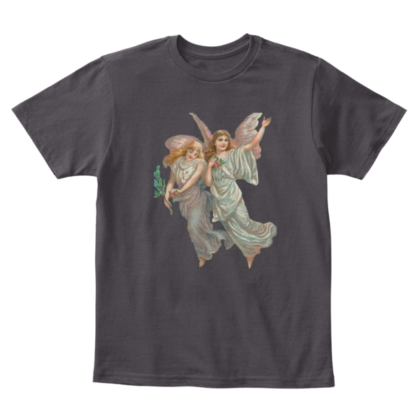 Mythic Art Clothing Kids Cotton Tee Classic T-Shirt with Heavenly Angel Art Print Heathered Charcoal Front