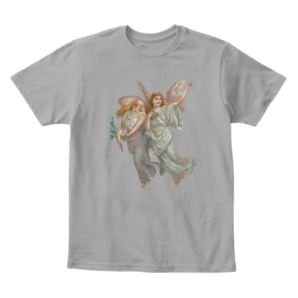 Mythic Art Clothing Kids Cotton Tee Classic T-Shirt with Heavenly Angel Art Print Light Heather Grey Front