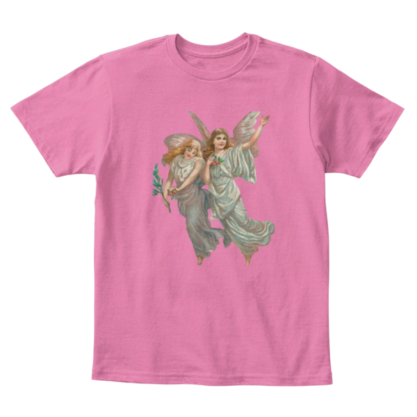 Mythic Art Clothing Kids Cotton Tee Classic T-Shirt with Heavenly Angel Art Print True Pink Front