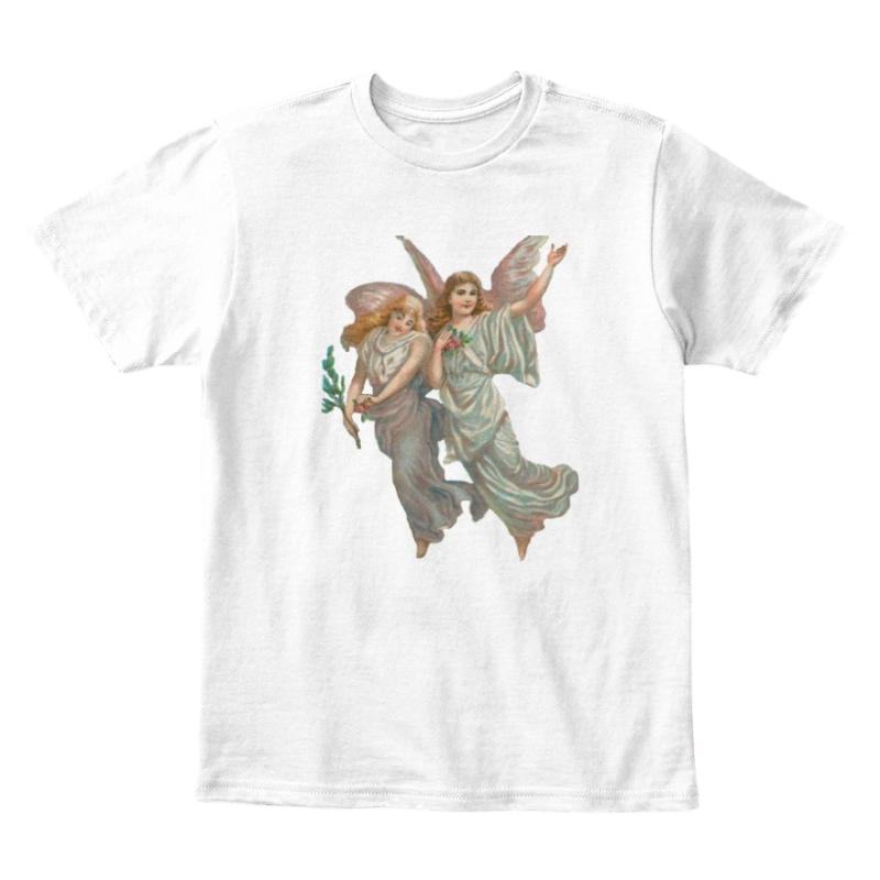 Mythic Art Clothing Kids Cotton Tee Classic T-Shirt with Heavenly Angel Art Print White Front