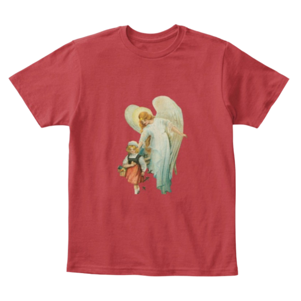 Mythic Art Clothing Kids Cotton Tee Classic T Shirt Guardian Angel with Girl Deep Classic Red