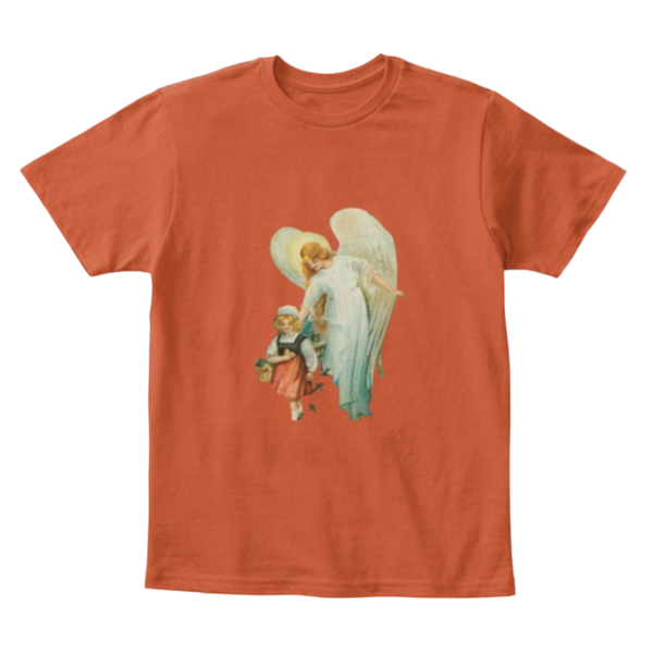 Mythic Art Clothing Kids Cotton Tee Classic T Shirt Guardian Angel with Girl Deep Orange Front