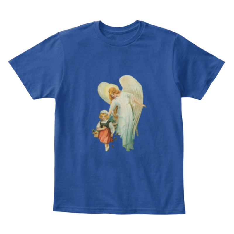 Mythic Art Clothing Kids Cotton Tee Classic T Shirt Guardian Angel with Girl Deep Royal Front