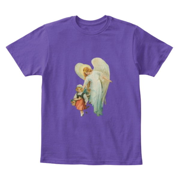 Mythic Art Clothing Kids Kids Cotton Tee Classic T Shirt Guardian Angel with Girl Purple Front