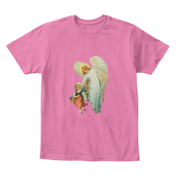 Mythic Art Clothing Kids Cotton Tee Classic T Shirt Guardian Angel with Girl Light True Pink Front