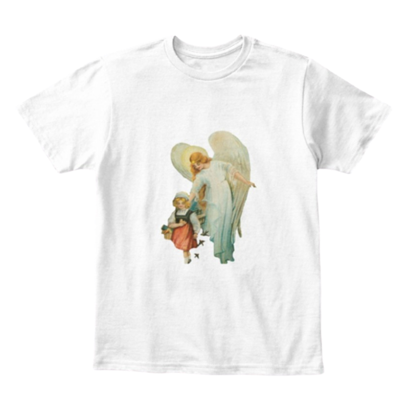 Mythic Art Clothing Kids Kids Cotton Tee Classic T Shirt Guardian Angel with Girl White Front