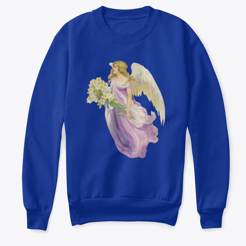 Kids Crewneck Sweatshirt with Angel in Purple with Lilies