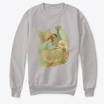 Kids Crewneck Sweatshirt with Angel over Baby in Bassinet