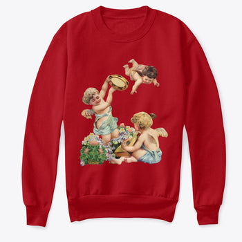 Kids Crewneck Sweatshirt with Cherubs Playing Music