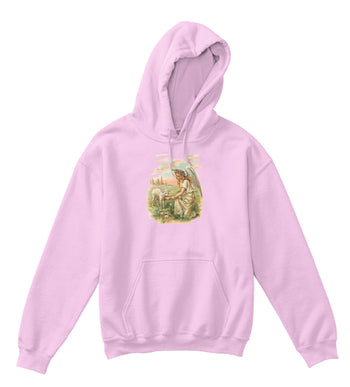 Kids Hoodie Sweatshirt with Antique Angel Feeding a Lamb Art Print