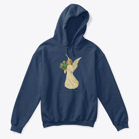 Kids Hoodie Sweatshirt with Angel and Four Leaf Clover