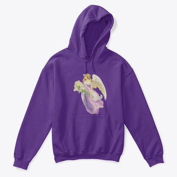 Kids Hoodie Sweatshirt with Angel in Purple Carrying Lilies