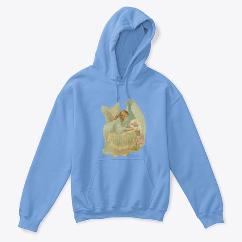 Kids Hoodie Sweatshirt with Angel Watching Over Baby in Bassinet
