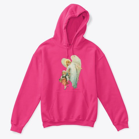 Kids Hoodie Sweatshirt with Guardian Angel Watching Over Girl